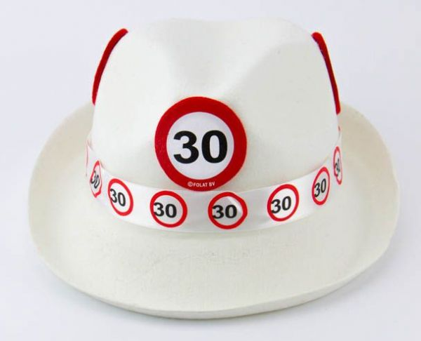 Traffic Sign 30th Party White Trilby Hat Birthday Novelty Gift Favor favour